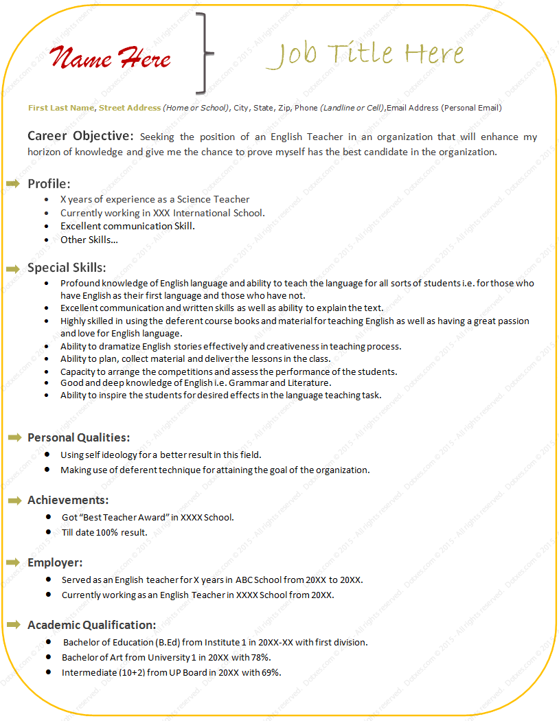 Doc694926 Teachers Biodata Format resume format for teacher – Teachers Biodata Format