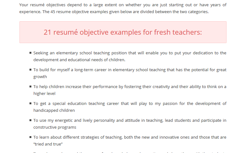 Teacher Resume Objective Examples  Teacher Resume Objective Statement