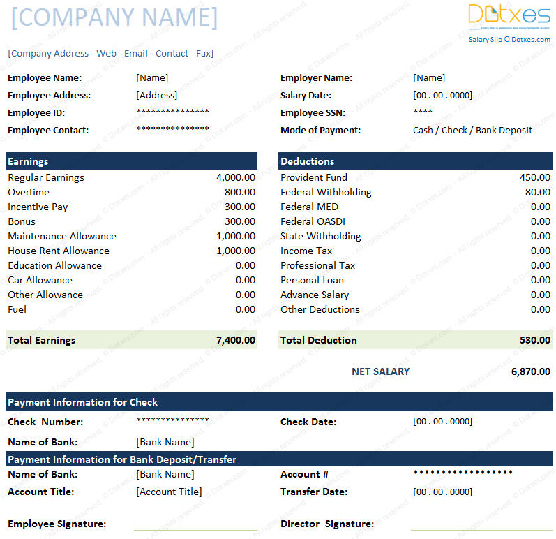 Salary Slip Format for Excel and Word Dotxes – Download Salary Slip Format
