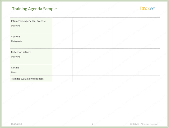 training template sample