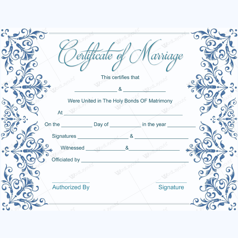 fake marriage certificate template dotxes