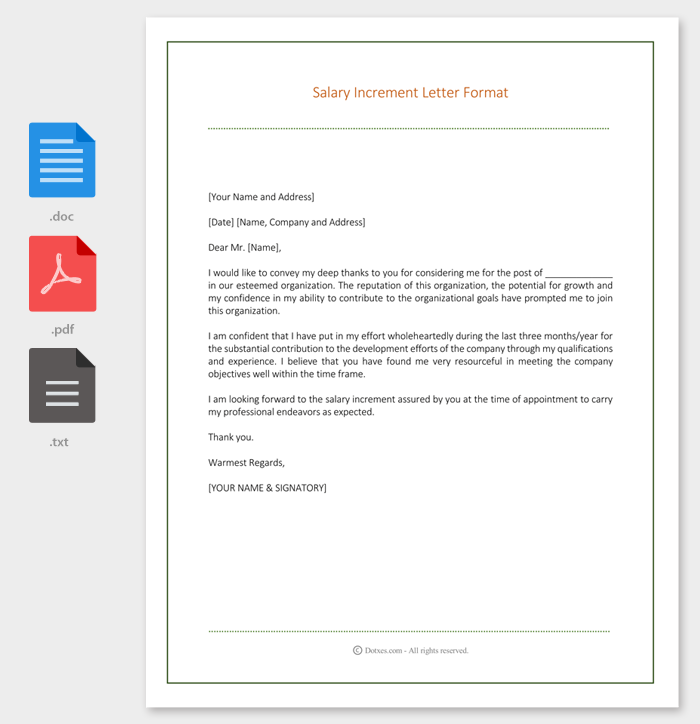 Salary Increment Letter 14 Best Printable Samples and Formats – Letter Format for Salary Increment