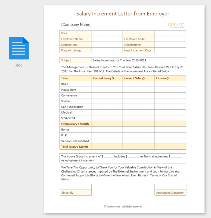 Salary Increment Letter