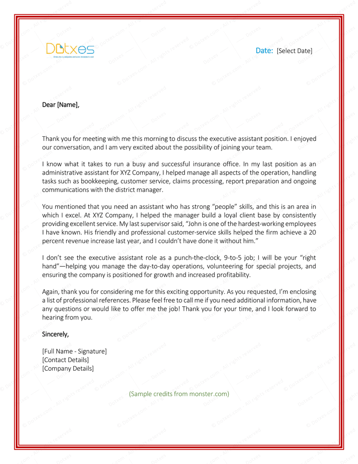 After Second Interview Thank You Letter Samples Sample Thank You Letter After Interview 5 Plus Best Templates