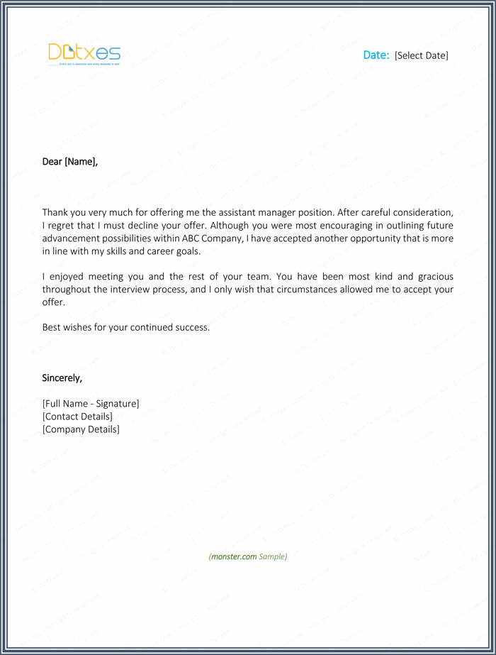 Declining A Job Offer – Decline Offer Letter