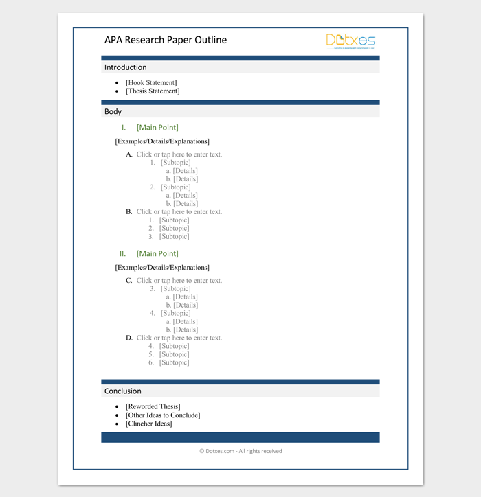 do apa research paper outline An apa outline template is a document that details research completed by it's author in a format that uses roman numerals followed by letters and then numbers when.