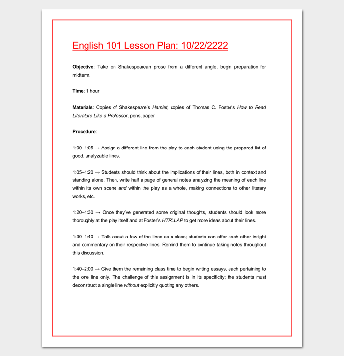Lesson plan for college admissions essay writing