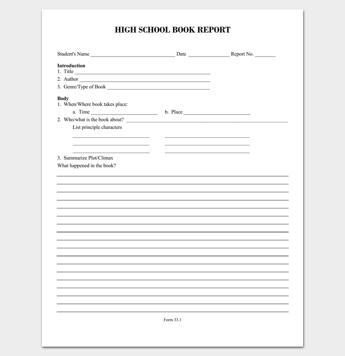 Report Outline Template 19 Samples Formats Examples – High School Book Report Outline