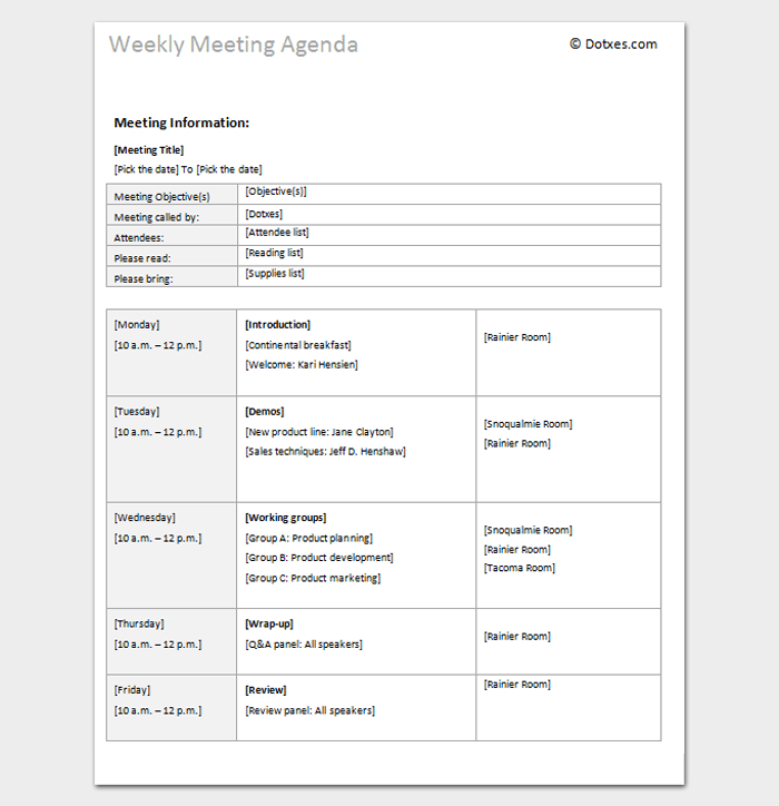 Agenda Outline Template 10 For Word Excel PDF Format – Attendees List Template