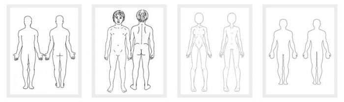 Mesmerizing image with printable outline of human body front and back