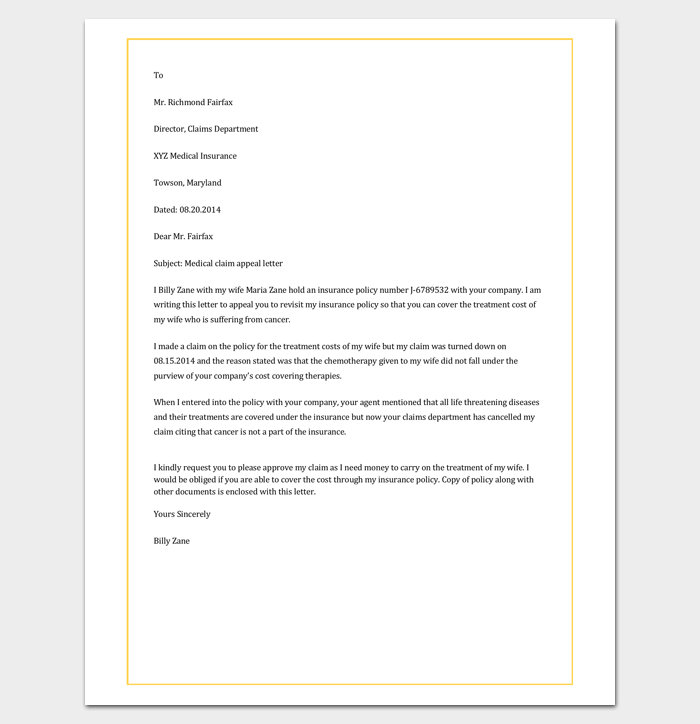 medical claim appeal letter - Medical Appeal Letters