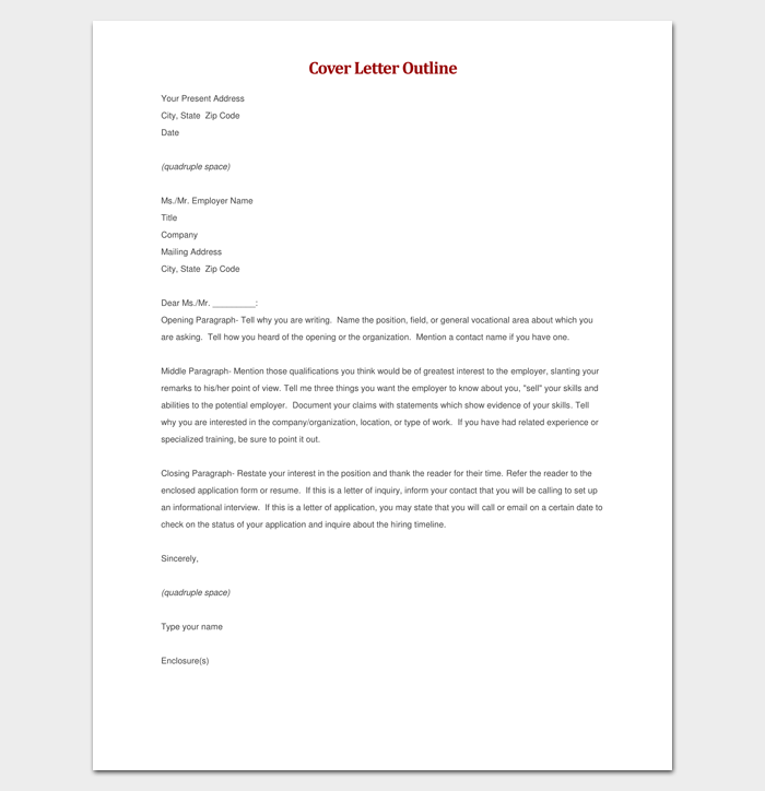 resume cover letter outline sample - Cover Letter Outline