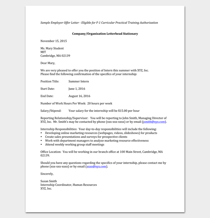 Summer Internship Appointment Letter from Company 1