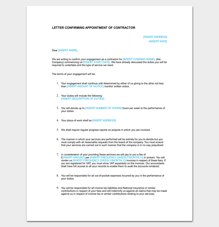 Appointment Letter for Building Contractor