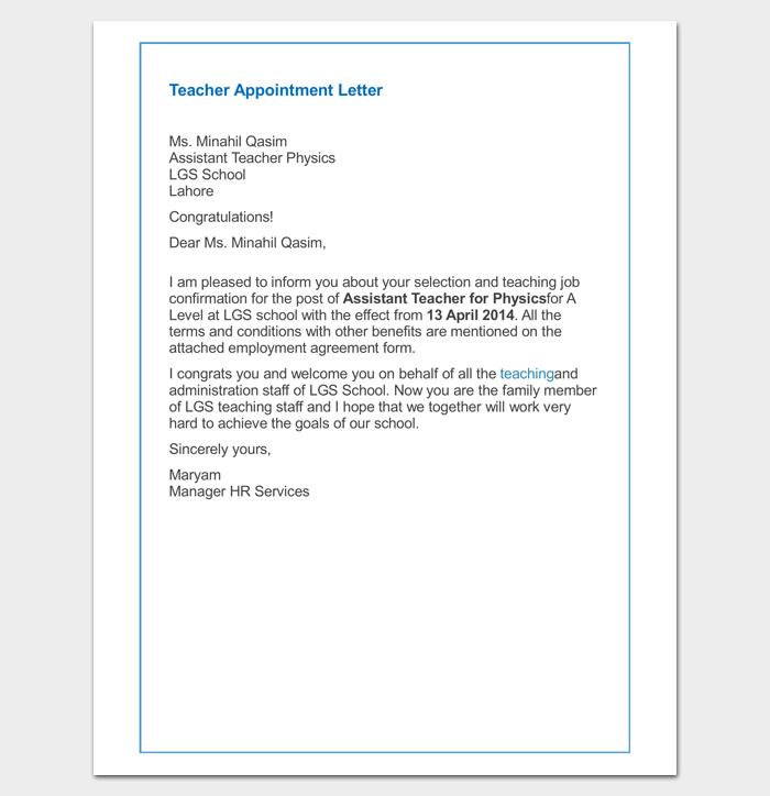 Offer Letter For School Teacher