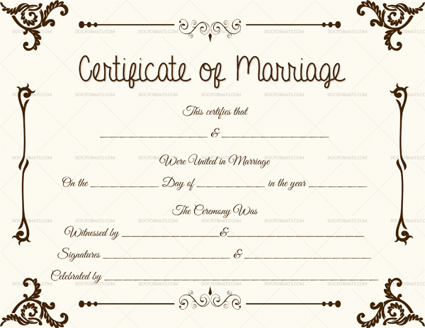 Vintage Marriage Certificate Design Template In Psd Word: Marriage Certificate Format