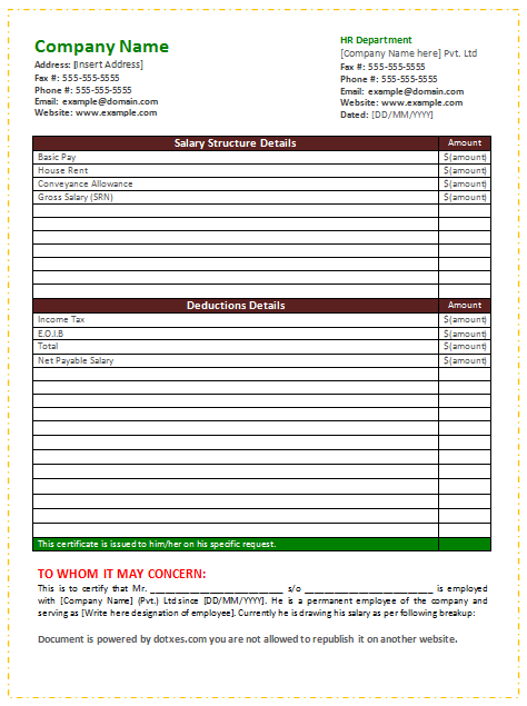 Salary Certificate Template word – Salary Certificate Template