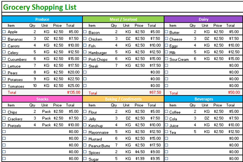 Grocery list template Standard Design Dotxes – Grocery List Template Excel Free Download