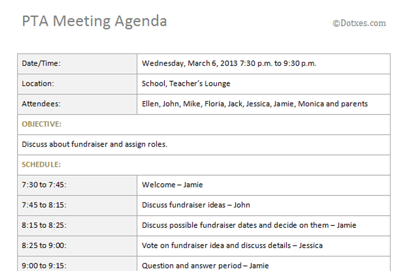 Pta Meeting Agenda Template Basic Dotxes