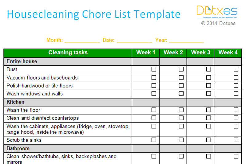 House cleaning chore list template Weekly Dotxes – Chore List Template