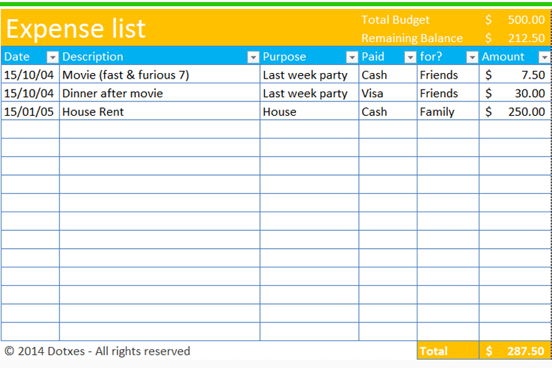 List Of Household Expenses Template ] - go to download monthly ...