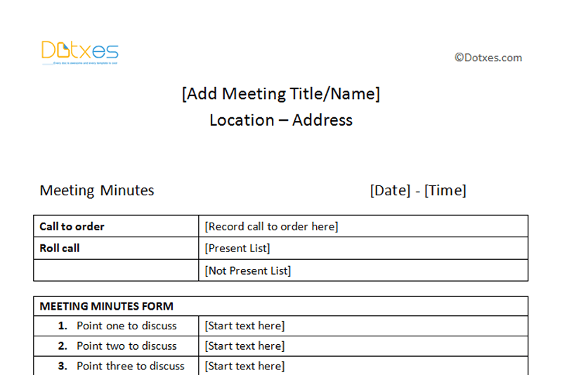 Meeting Minutes Sample Plain Table Format Dotxes – Meeting Minutes Templates Free