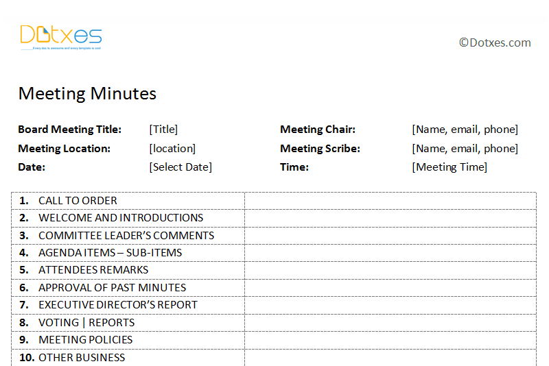 free template for meeting minutes format pacqco – Meeting Minutes Templates Free