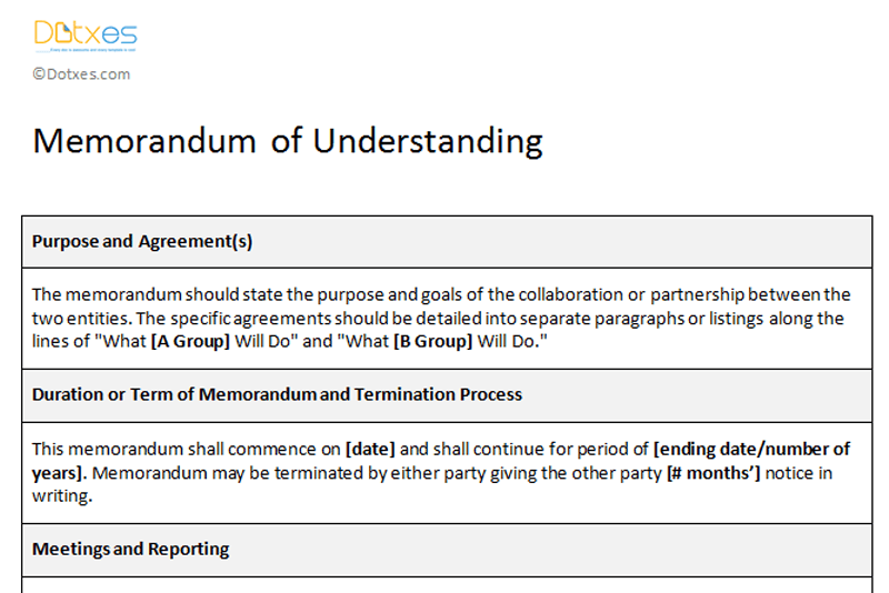 Memorandum of Understanding Sample Template - Dotxes