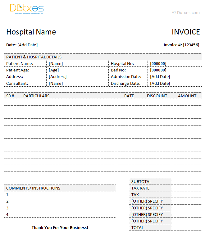 Medical Invoice Template (Word) - Dotxes