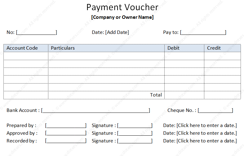 Payment Voucher Sample Dotxes – Sample Payment Voucher Template