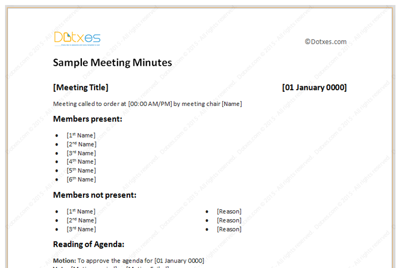 Meeting Minutes Template Free Printable Formats for Word – Meeting Minute Sample