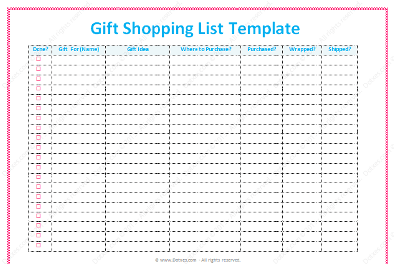 Gift List Template Word Dotxes – Shopping List Template Word