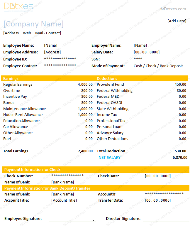Salary Slip Format for Excel and Word Dotxes – Employee Payment Slip Format