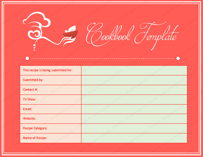 Cookbook word template dotxes for Free online cookbook template