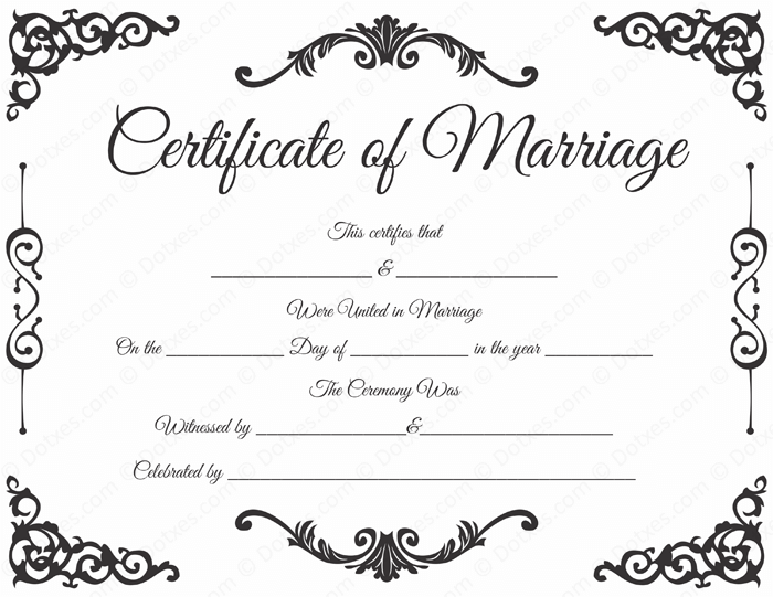 Traditional corner marriage certificate template dotxes for Ms office certificate template