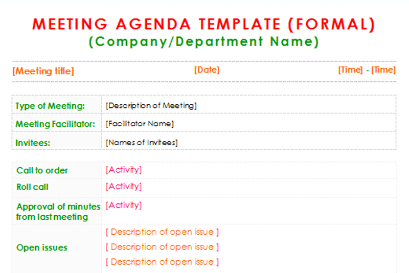 formal meeting agenda template  for word
