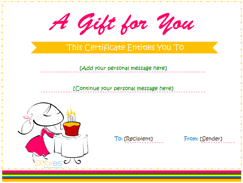 Gift Certificate Template For Girl