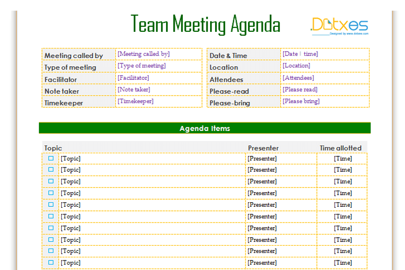 team meeting agenda template  informal