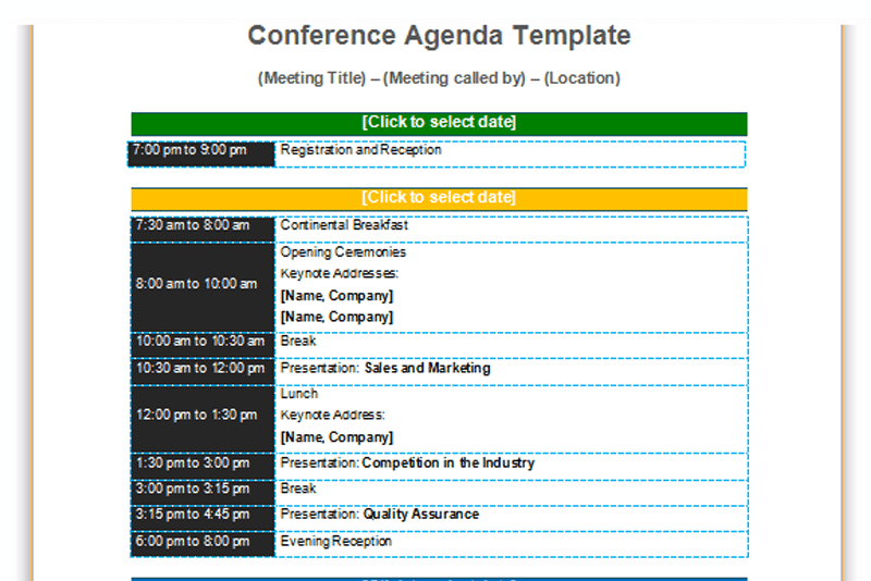 conference agenda template  basic format