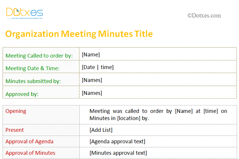 Meeting minutes template for organization dotxes for Stand up meeting minutes template