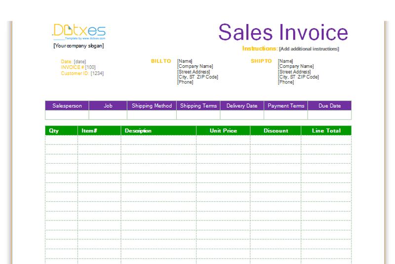 sales invoice template standard format dotxes