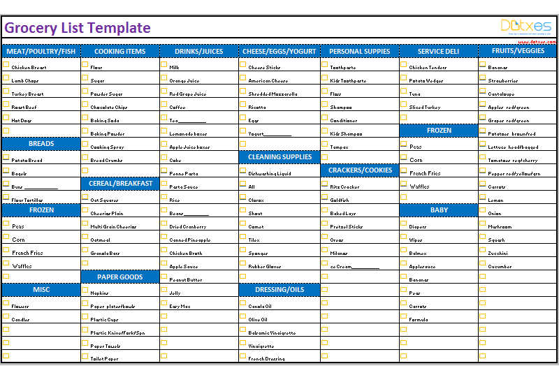 grocery list template  categorized