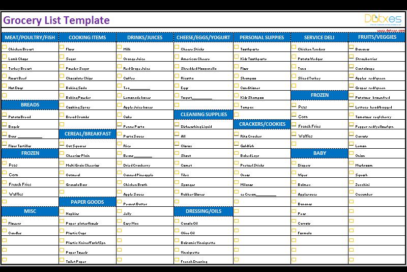 Grocery list template (Categorized) - Dotxes