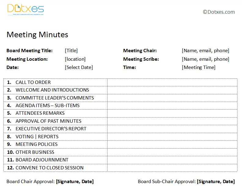 Board meeting minutes template plain format dotxes for Standard minutes of meeting template