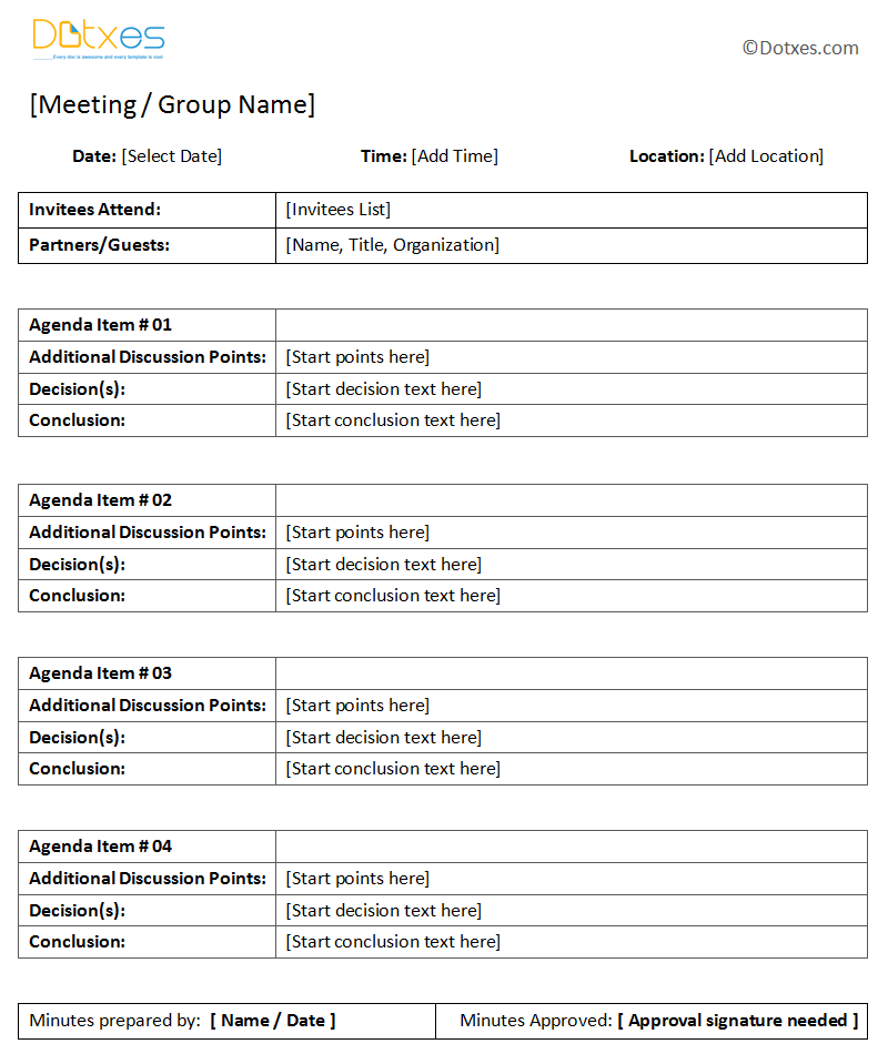 General meeting minutes template dotxes for Standard minutes of meeting template