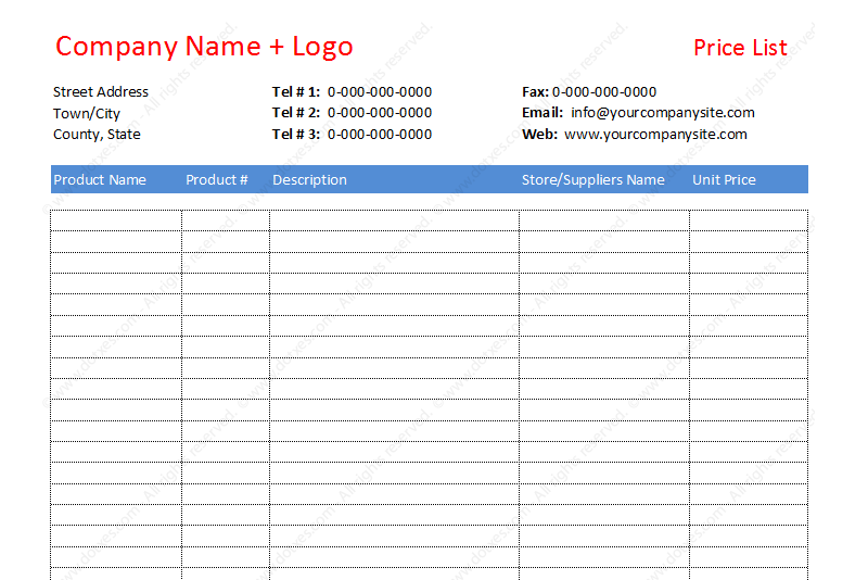 Price list template to compare different prices (Featured Image)