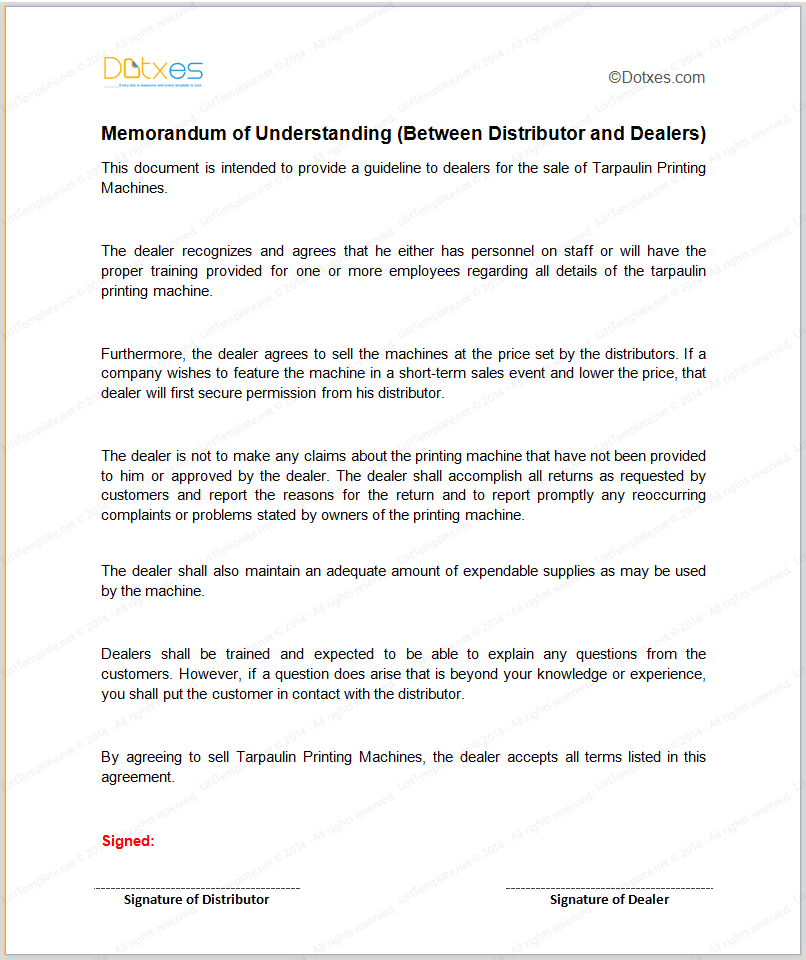 Memorandum of understanding sample template between distributor and dealers