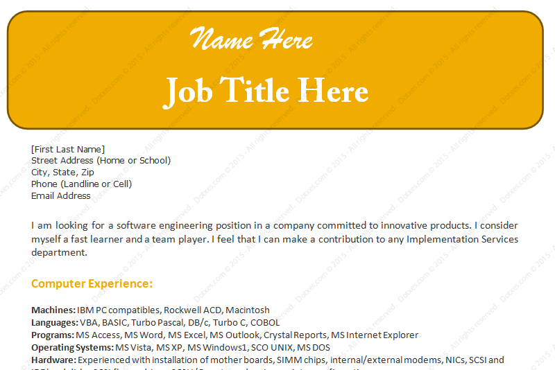 Software Engineer Sample Resume Template (Featured)