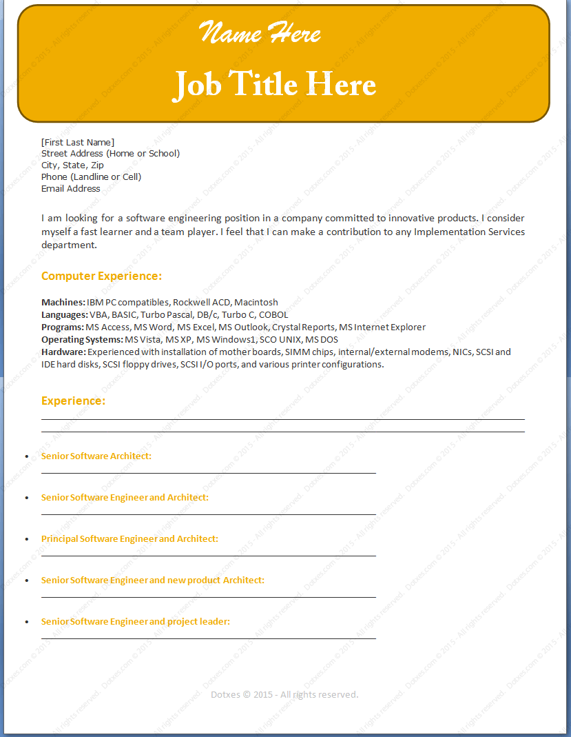 Software Engineer Sample Resume Template Dotxes