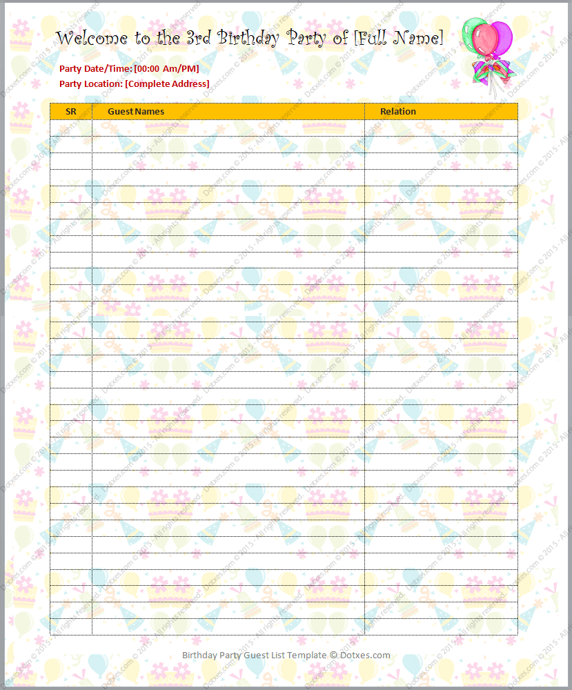 Birthday party guest list template dotxes for Birthday gift list template